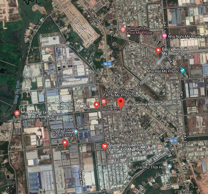 bản đồ vệ tinh khu công nghiệp mỹ phước 1