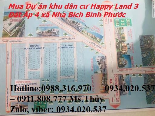 Mua Dự án khu dân cư Happy Land 3 Đất Ấp 4 xã Nha Bích Bình Phước